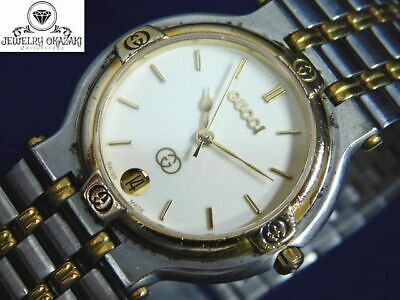 GOOD!! GUCCI 9000M GOLD SILVER Ivory DATE MEN'S VINTAGE SWISS MADE WATCH