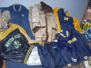LEATHER coats jackets sports teams , ball caps