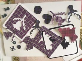 JOB LOT CRAFT CLEAROUT CARDMAKING DIECUTS CARD PAPER TARTAN THISTLES SCOTTIES STAGS ARTS CRAFTS