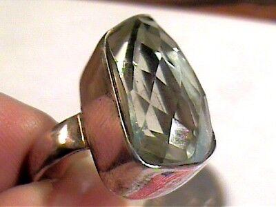 Ring 5 Green Amethyst Faceted Sterling 925 Silver Estate Bold Natural Real Elega