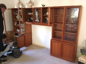 Modular Parker Teak Wall Unit / Display Cabinet Glenning Valley Wyong Area Preview