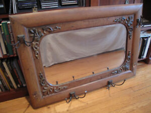 Antique Oak Hall Mirror with Hooks