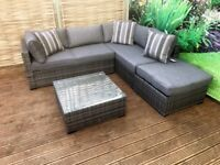 Homeflair Rattan Garden Furniture Savannah Grey corner sofa + Dining table + stool set £549