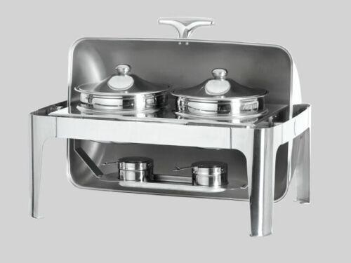 NEW Stainless Steel Double Soup Station Roll Top Chafing Dish Food Warmer Server