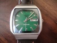 VINTAGE MENS SEIKO AUTOMATIC WATCH 1970S GREEN