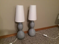 Set of 2 Blown Glass Lamps with Dimmer Switches