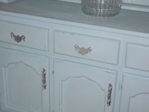 chalk painted, distressed, waxed, wood hutch, with crystal knobs London Ontario image 4