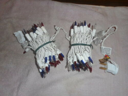 RED WHITE & BLUE 100 MINI LIGHTS PATRIOTIC 4th of JULY WHITE WIRE NEW NO BOX