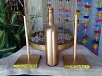 Wedding Decor - Painted Wine Bottles and Table # Holders