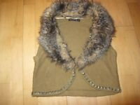 Ladies short cropped knitted fur gilet size 10