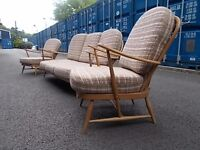 Ercol Retro Vintage Suite,Sofa And Two Armchairs,Long Distance Delivery
