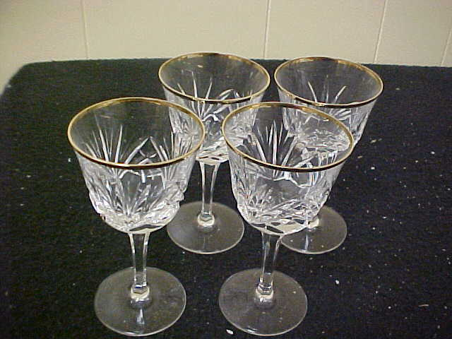 Gorham Crystal Cherrywood Gold Wine Goblets (Set Of 4) MINT