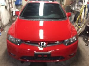 2007 Honda Civic RED  Coupe (2 door)