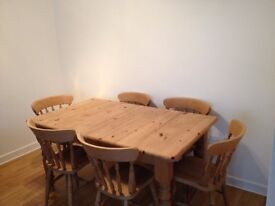 Amazing 4 FT(extending) square antique pine dining table (thick top) with 6 SOLID OAK chairs