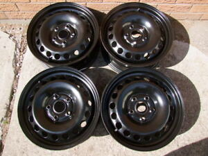 "4-16"" BLACK STEEL RIMS 5 BOLTx114.3 (4.5) CAN SELL SINGLES"