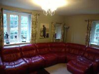 DFS Italian Leather Corner Settee / Sofa
