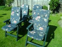 Plastic Garden Folding Adjustable Recliner Chair with Cushions
