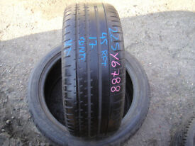225 45 17 Continental,Sport Contact 2,BMW,Runflat,91w,x1, 6.0mm (Part Worn Tyres Braintree)