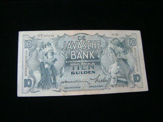 Netherlands Indies 1934 10 Gulden Banknote VF Pick#79a