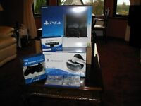 Virtual reality PS4 500 console, PSVR Goggles, Camera,extra controller, 2 games. All new and sealed,
