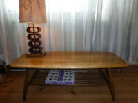 For Sale ERCOL Light Elm Long Coffee Table with Magazine Shelf Dining Room Furniture ~ Totton