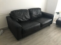 3 Seater Leather couch x2 and Puffet/footstool