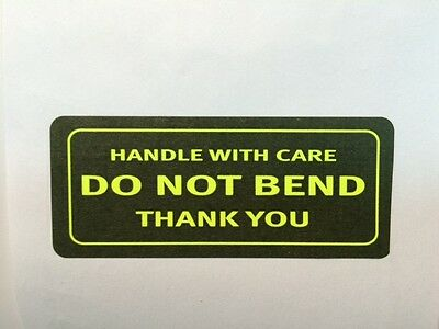 100 1.25 x 3 HANDLE WITH CARE DO NOT BEND THANK YOU NEON YELLOW NEW