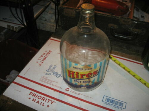 VINTAGE  HIRES ROOT BEER SYRUP JUG 1 GALLON JUG WITH PAPER LABEL