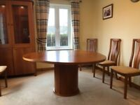 Skovby Cherrywood Round Pedestal Dining Table and 6 Chairs, immaculate condition