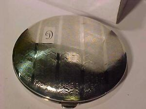 **BIRKS**STERLING SILVER COMPACT=HALLMARKED-SOLID CLOSURE -VERY NICE CONDITION.  INITIAL *D*