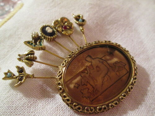Vintage Unsigned Verifiable Goldette Topaz Intaglio Cameo Stickpin Brooch