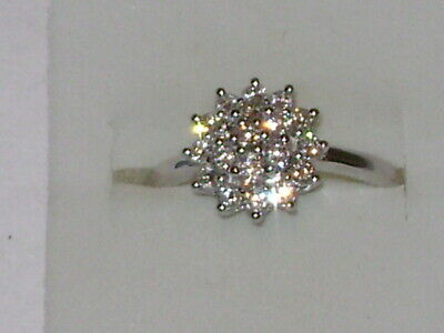 Sterling Silver .80Cts. Lab Grown Diamond Cluster Ring for sale  USA