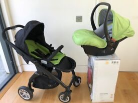 New, Never Used- Casualplay Kudu4 Stroller + Nuno Car Seat (Apple colour) by Designer Spanish brand