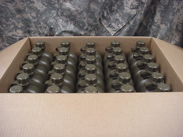 CASE OF 60 US MILITARY 1 QUART PLASTIC CANTEEN OD GREEN, MADE IN USA