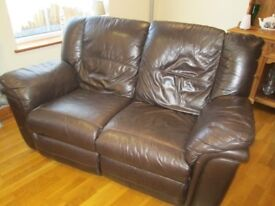 reclining leather two seater sofa dark brown
