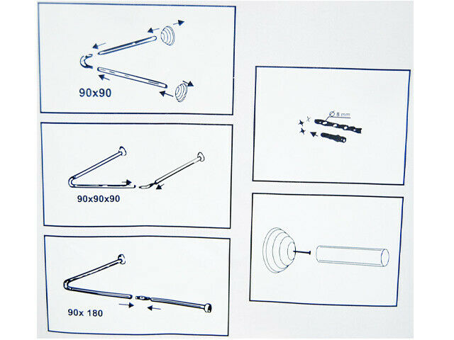 Winkelstange Duschvorhang Stange 24 mm dick L & U Form Badewanne Eckstange Weiß