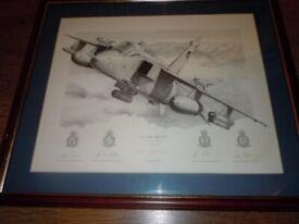 SIGNED LIMITED EDITION RAF PRINT JAGUAR GR3 AIRCRAFT