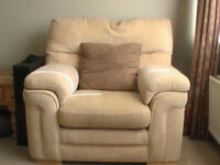 3 seater, 2 seater and chair sandy coloured suite in great condition