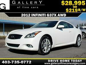 2012 Infiniti G37x AWD $219 bi-weekly APPLY TODAY DRIVE TODAY