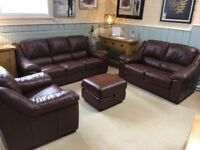 Brown leather 3&2 sofa chair and footstool
