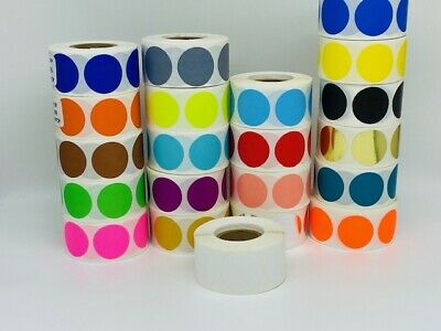 2 Round White Color Coded Inventory Dots Roll Of 500 Labels Stickers