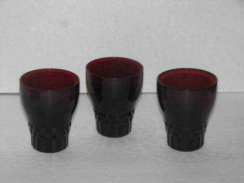 Vintage Anchor Hocking Ruby Red Windsor Tumblers Glasses - Set Of 3