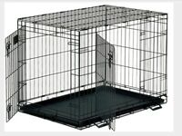 Dog Cage, Extra Large, Stainless Steel, with Plastic Tray..