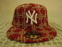 New ERA Red NEW YORK YANKEES Flatback Hat Cap: Like Snapback Unisex. Size 7 or 55.8cm
