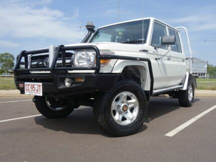 2012 Toyota Landcruiser VDJ79R MY13 GXL Double Cab French Vanilla 5 Speed Manual Dual Cab Chassis