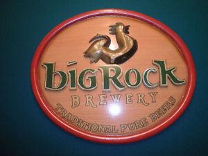 Big Rock Brewery Wooden Beer Sign.