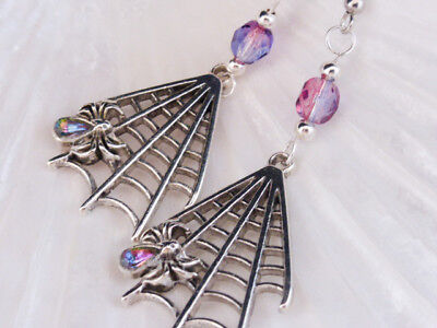 der Web Earrings with Pink Czech Crystals (Pink Spider Web Halloween)