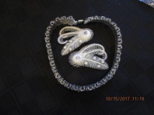 VINTAGE W Germany Soft Plastic Rhinestone Feather Clip Earrings 1950's & choker