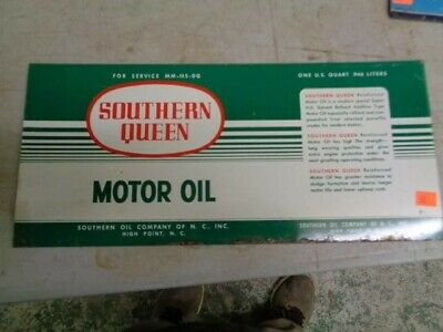 """VINTAGE SOUTHERN QUEEN TIN MOTOR OIL SIGN -- 12.5"""" X 5.5"""""""