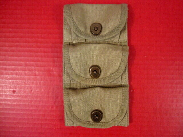 WWI US Army M1917 3- Pocket Ammo Pouch for Half Moon Clips .45 Revolver - Repro
